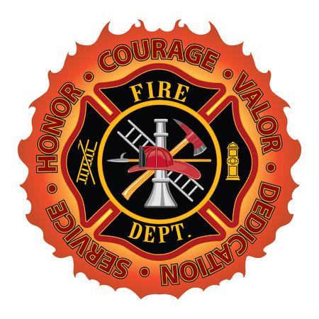 Bombero Valentía Valor Honor es un departamento de bomberos o bombero diseño del símbolo de la cruz maltesa con la frontera de la llama rodeada de Honor, Coraje, Valor, dedicación y servicio incluye herramientas bombero símbolo