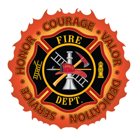 "Firefighter Honor Courage Valor is a fire department or firefighter Maltese cross symbol design with flame border encircled by ""Honor, Courage, Valor, Dedication and Service""  Includes firefighter tools symbol  Ilustração"