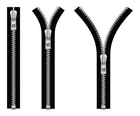 metal fastener: Zipper is an illustration of a zipper in a closed position and two open positions