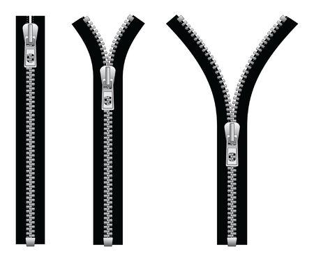 Zipper is een illustratie van een rits in een gesloten positie en twee open posities