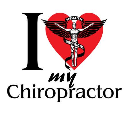 Diseño de I Love My Chiropractor con símbolo o icono de quiropráctico de estilo gráfico en blanco y negro