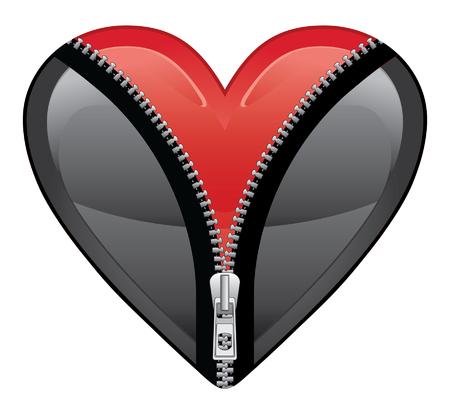あなたの心を開いては美しいルビー色の赤の心を明らかにするジッパーを開くブラック ハートのイラスト