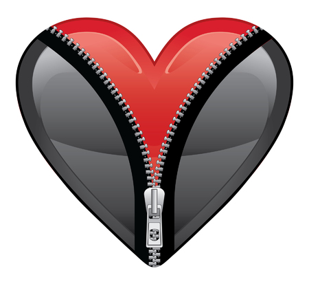 Open Your Heart is an illustration of a black heart opening with a zipper to reveal a beautiful ruby red heart Reklamní fotografie - 30825538