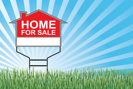 for sale sign: Home For Sale Sign In Grass is an illustration of a home for sale sign with a blue sky burst or sunburst, green grass at the bottom and blank space for your text or information  Illustration