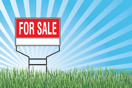 for sale sign: For Sale Sign In Grass is an illustration of a for sale sign with a blue sky burst or sunburst, green grass at the bottom and blank space for your text or information