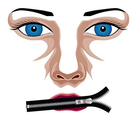 Zip Het is een illustratie van een dames gezicht met haar mond dicht met een rits