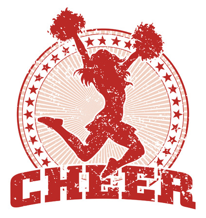 cheer: Cheer Design illustration of a cheer design in a vintage style with a cheerleader silhouette