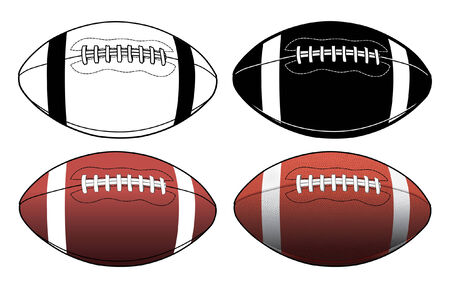 college football: Football Simple to Complex is an illustration of four footballs ranging from a simple black and white graphic to a complex color illustration.
