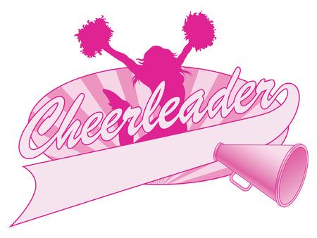 Cheerleader Jump Design is een illustratie van een gejuich ontwerp voor cheerleaders. Inclusief een springende cheerleader, megafoon en een banner voor uw naam, naam van de school of andere tekst. Stock Illustratie