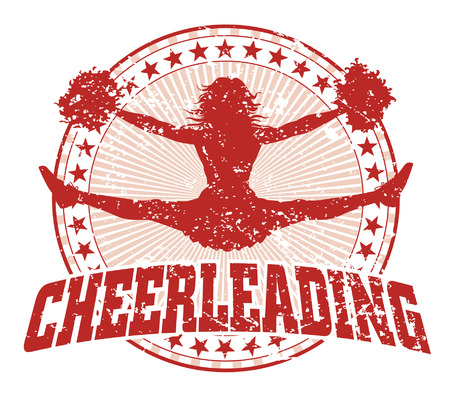 pom: Cheerleading Design - Vintage is an illustration of a cheerleading design in a vintage style with a jumping cheerleader silhouette, circle of stars and sunburst pattern. Illustration
