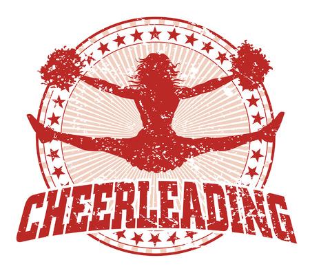 Cheerleading Design - Vintage is een illustratie van een cheerleading ontwerp in een vintage stijl met een springende cheerleader silhouet, cirkel van sterren en zonnestraal patroon.
