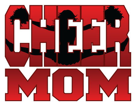 Cheer Mom is an illustration of a cheer design for cheerleaders moms. Includes a jumping cheerleader embedded in the word cheer. Vector