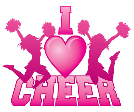 pom: I Love Cheer is an illustration of a cheer design for cheerleaders. Express your love for cheerleading. Includes two jumping cheerleaders and a heart shape.