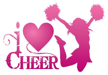 porrista: Amo Cheer Con Jumping Cheerleader es una ilustraci�n de un dise�o de alegr�a para las animadoras. Exprese su amor para animar. Incluye una animadora de salto y una forma de coraz�n.
