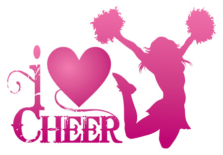 cheerleading: I Love Cheer With Jumping Cheerleader is an illustration of a cheer design for cheerleaders. Express your love for cheerleading. Includes a jumping cheerleader and a heart shape.