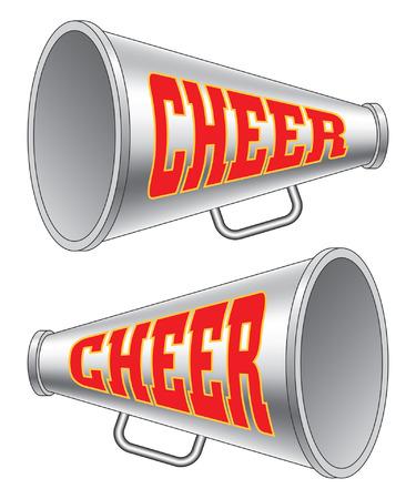 Megaphone-Cheer é uma ilustração de duas versões de um megafone usadas por líderes de torcida com a palavra animar. Ilustración de vector