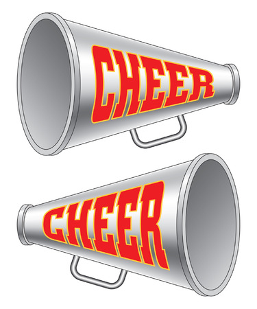 Megaphone-Cheer is an illustration of two versions of a megaphone used by cheerleaders with the word cheer on them.