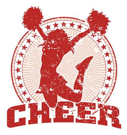cheerleading: Cheer Jump Design - Vintage is an illustration of a cheer design in a vintage style with a jumping cheerleader silhouette, circle of stars and sunburst pattern.