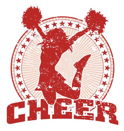 Cheer Jump Design - Vintage is een illustratie van een gejuich ontwerp in een vintage stijl met een springende cheerleader silhouet, cirkel van sterren en zonnestraal patroon.