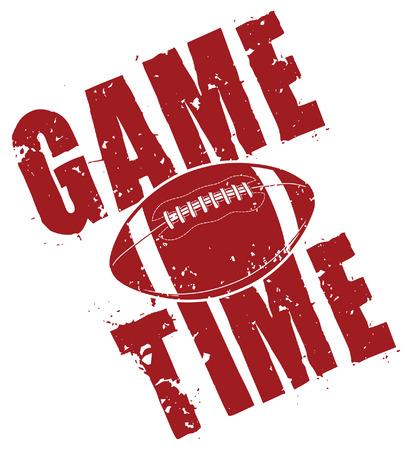 Football Game Time ist eine Abbildung eines Fußballspiels Zeit Design in einer Weinlese oder beunruhigten Art, die eine Fußball umfasst.