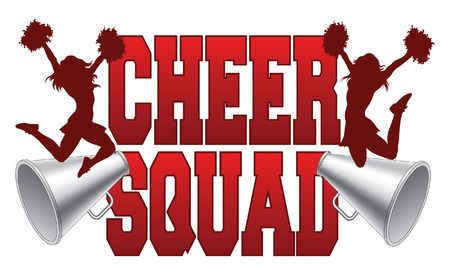 Cheer Squad is an illustration of a cheer squad design for cheerleaders. Includes a two jumping cheerleaders and megaphones. Vector