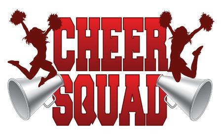 Cheer Squad is een illustratie van een juich ploeg ontwerp voor cheerleaders. Bestaat uit een twee springen cheerleaders en megafoons. Stock Illustratie