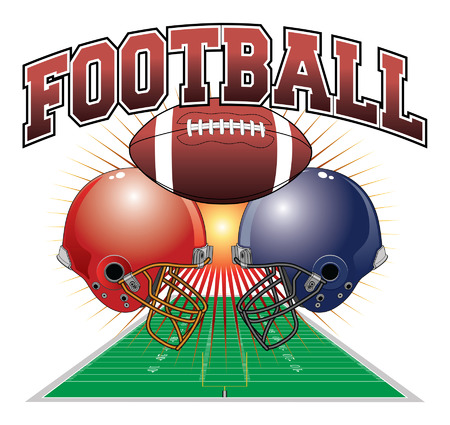 pigskin: Football Design is an illustration of a football design which includes a football, two football helmets and a football field in perspective with a sunburst background.