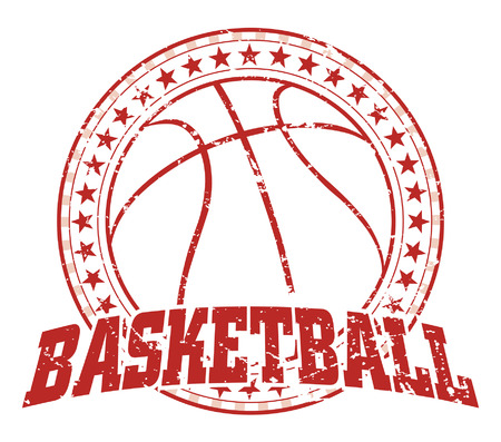 Basketball Design - Vintage is an illustration of a basketball design in vintage distressed style with a circle of stars. The distressed look is removable in the vector version of the art. Ilustração