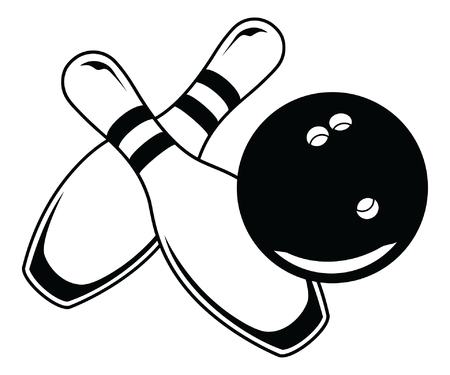 bowling: Bowling Ball With Two Pins - Graphic Style is an illustration of a black bowling ball and two bowling pins in a simple graphic style.
