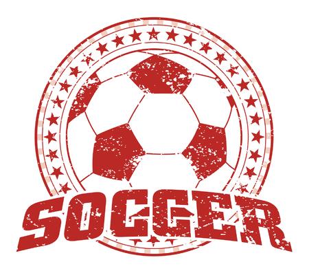Soccer Design - Vintage is an illustration of a soccer design in vintage distressed style with a circle of stars.