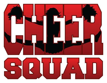Cheer Squad With Cheerleader es una ilustración del diseño de un equipo de animadores para animadoras. Incluye una animadora saltadora incrustada en la palabra alegría.