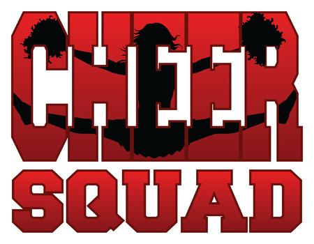embedded: Cheer Squad With Cheerleader is an illustration of a cheer squad design for cheerleaders. Includes a jumping cheerleader embedded in the word cheer.