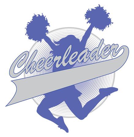 Cheerleader Design is een illustratie van een gejuich ontwerp voor cheerleaders. Inclusief een springende cheerleader en een banner voor uw naam, school naam of andere tekst.