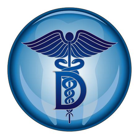 Dentist Medical Symbol Button Vector