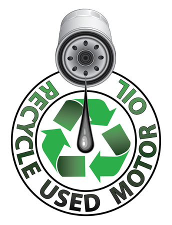Recycle Used Oil is an illustration of a recycle symbol in green an oil filter dripping oil and the words Recycle Used Motor Oil. Stock Illustratie