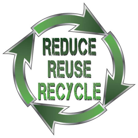 Reduce Reuse Recycle is an illustration of a recycle symbol with the words Reduce, Reuse and Recycle in the center. Ilustração