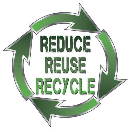 reduce reutiliza recicla: Reducir Reutilizar Reciclar es una ilustraci�n de un s�mbolo de reciclaje con las palabras Reducir, Reutilizar y Reciclar en el centro. Vectores