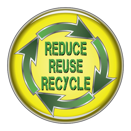 Reduce Reuse Recycle is an illustration of a recycle symbol with the words Reduce, Reuse and Recycle in the center on a button. 向量圖像