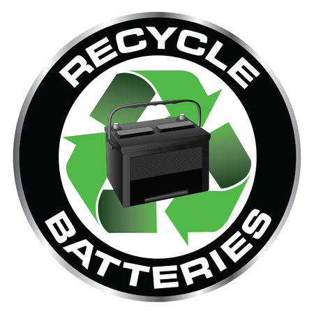 Recycle Batteries is an illustration of a design with a car or automobile battery inside a recycle symbol with the and the words Recycle Batteries.
