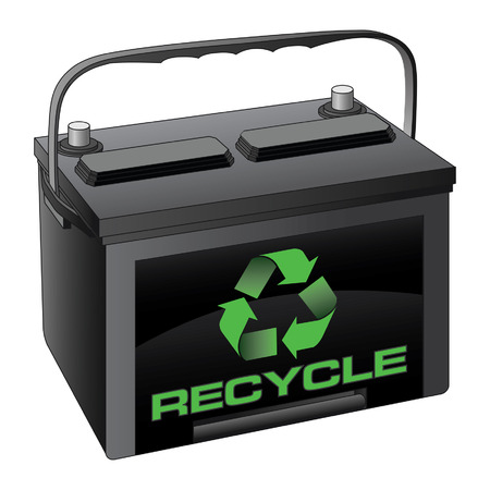 Battery Recycle is an illustration of a car or automobile battery with a recycle symbol and the words Recycle on it.