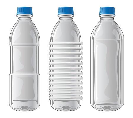 agua purificada: Botellas de pl�stico es una ilustraci�n de tres tipos de botellas de pl�stico transparentes utilizados para el agua y otras bebidas.