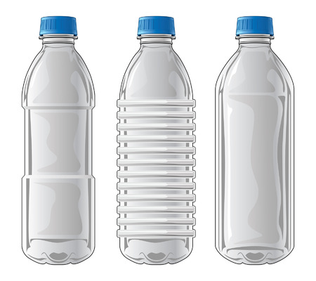 recycling bottles: Plastic Bottles is an illustration of three types of clear plastic bottles used for water and other beverages.