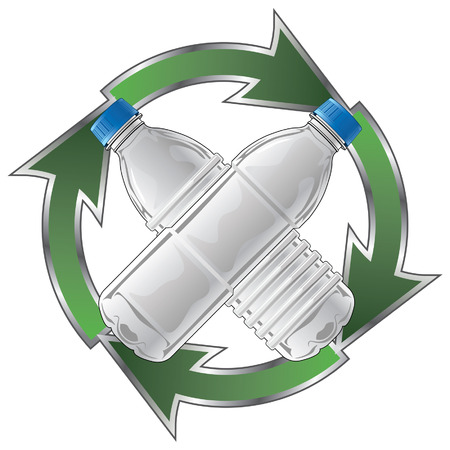 Recycle Plastic Bottles is an illustration of a recycle symbol with two type of clear plastic bottles crossed in the center.