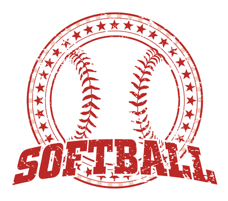Softball Design - Vintage is an illustration of a softball design in vintage distressed style with a circle of stars. The distressed look is removable in the vector version of the art. Imagens - 33636794