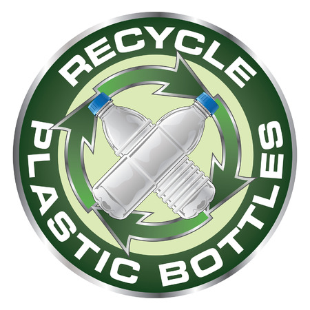plastic recycling: Recycle Plastic Bottles Design is an illustration of a recycle symbol with two type of clear plastic bottles crossed in the center on a sticker or emblem.