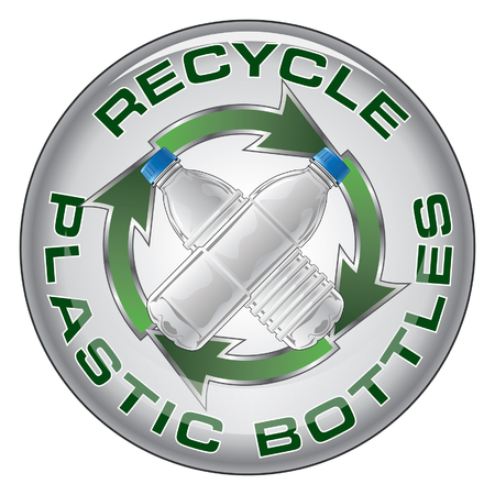 energy icon: Recycle Plastic Bottles Button is an illustration of a recycle symbol with two type of clear plastic bottles crossed in the center on a button.