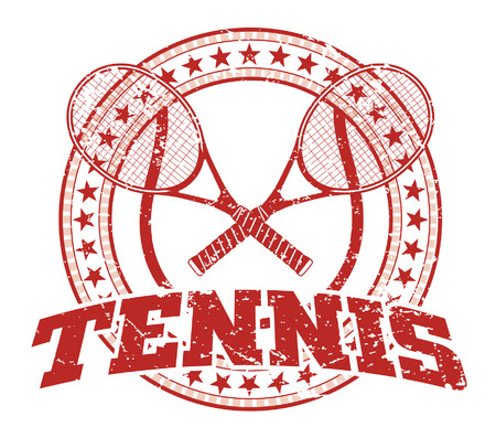 Tennis Design - Vintage is an illustration of a tennis design in vintage distressed style with a circle of stars. The distressed look is removable in the vector version of the art. Ilustração