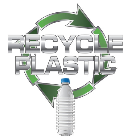 recyclable waste: Recycle Plastic is an illustration of a recycle plastic design which includes a plastic bottle and recycle symbol. Illustration