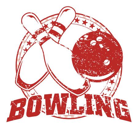 bolos: Bowling Dise�o - Vintage es una ilustraci�n de un dise�o de los bolos en estilo apenado vintage con un c�rculo de estrellas. La mirada apenada es desmontable en la versi�n del vector del arte.