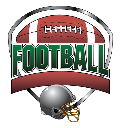 Football Design With Text Banner is an illustration of a football design which includes a football, football helmet and a shield shape in the background.